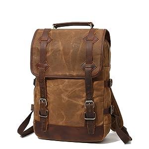 Color : Khaki LHQ-Camera Bag Vintage Durable Men//Women Backpack Daypack Waterproof Zipper Canvas Outdoor Laptop Bags Camera Bag