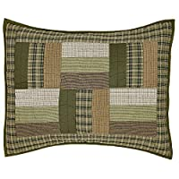 Rustic Cabin Green, Tan and White Montgomery Standard Sham 21x27