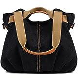 Mihono 大容量 帆布 バッグ 2way ショルダーバッグ ハンドバッグ トートバッグ ファッション カジュアル かわいい 通勤 通学 バッグ (ブラック)
