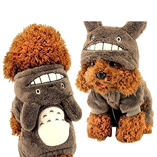 [Novelty Coral Fleece Winter Fall Warm Cute Totoro Style Hoodie Pet Puppy Dog Coat Sweater Soft Plush Clothes Costume] (Business Suit Dog Costume)