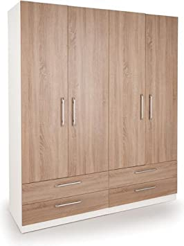 Euston 4 Door Wardrobe with 4 Drawers White Oak | Bedroom Furniture