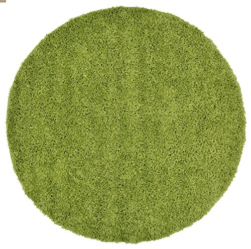 New Shaggy Collection Solid Color Shag Rug Different Color Options Available (Green, 5' Round)