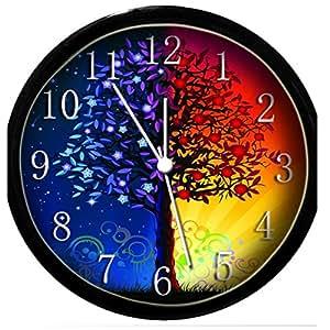 glow in the dark wall clock sun moon tree
