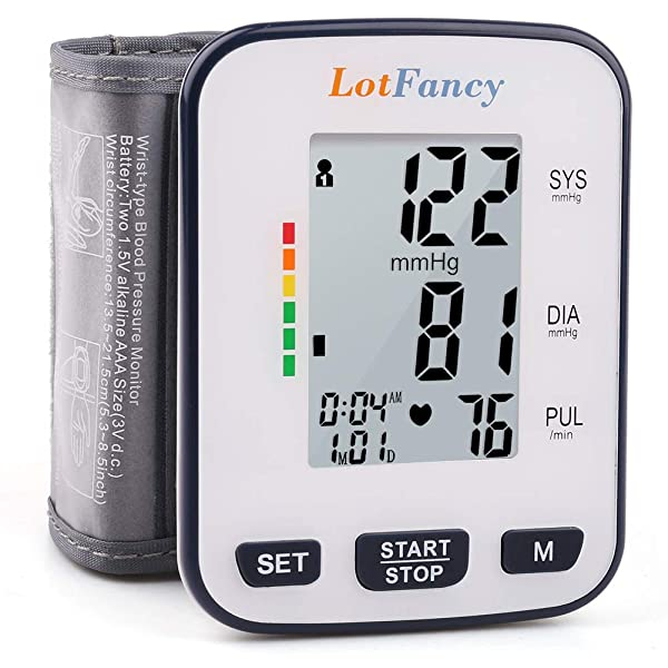 Wrist Blood Pressure Monitor by LotFancy, 2 User Mode, 5.3 - 8.5 Cuff, FDA Approved, Case Included