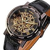 Men's Mechanical Wrist Watch with Elegant Skeleton Dial, Black