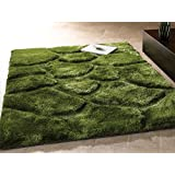Large Quality Handcarved 3D Super Soft & Thick Stone Design Green Rug in 120 x 170 cm (4' x 5'6'') Carpet