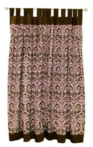 Tadpoles Damask Set of 2 Tab Top Curtain Panels, Pink/Brown