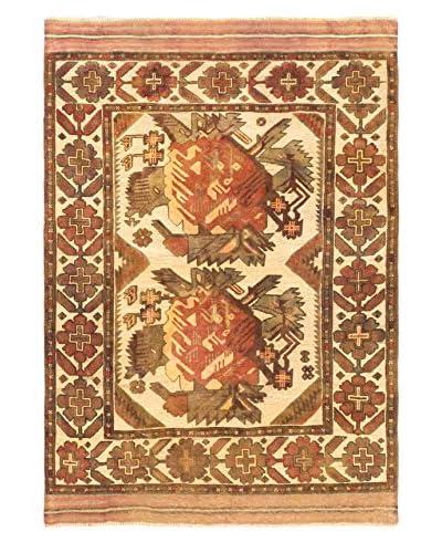 Hand-Knotted Tajik Tribal Wool Rug, Cream/Khaki, 4' 4 x 6' 2