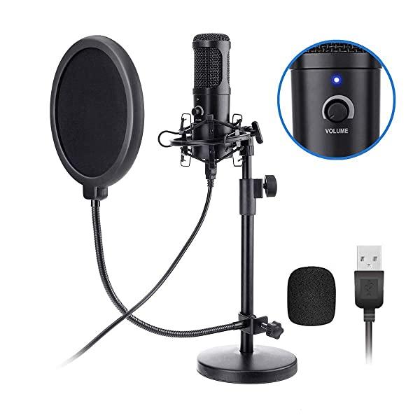 USB Microphone Kit, NASUM 192KHZ/24BIT Plug & Play USB Computer Cardioid Microphone Podcast Condenser Microphone with Stand for PC Singing, Podcasting, Streaming, Game, Recording, Voiceover