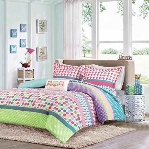 Girls Teen Kids Modern Comforter Bedding Set Pink Purple Aqua Blue Polka Dots Stripes Geometric Design with Owl Pillow. Includes Bonus Includes Bonus Sleep Mask From Designer Home. (Full/Queen)