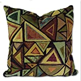 Tamarind Bay 18 in Luxury Tapestry Throw Pillow Cushion Cover - Picasso Abstract Triangular Design