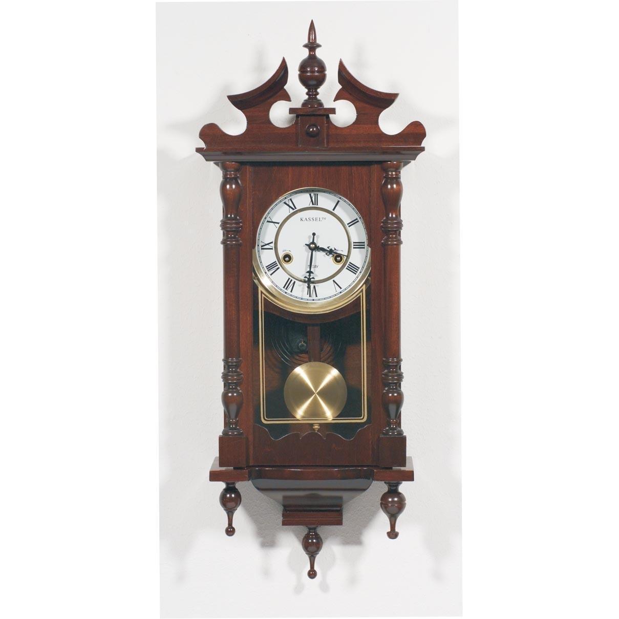 Clock Brookwood Wall Kassel Pendulum Wood Glass New W