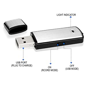 Lgsixe Voice Recorder USB Flash Drive 128Kbps 8gb No Flashing Light When Recording,Compatible with Windows,Android OTG Mini Listening Devices Record