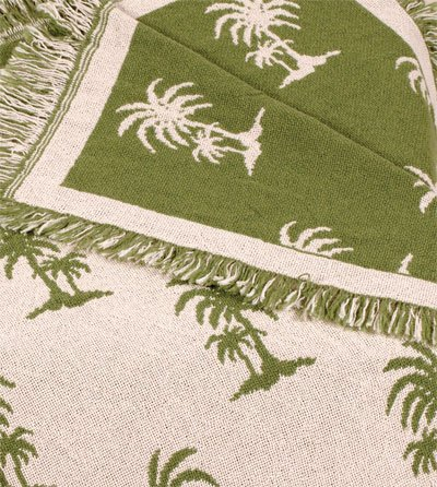 Avocado Castaway Green Palm Tree Eco2Cotton Afghan Throw Blanket 50