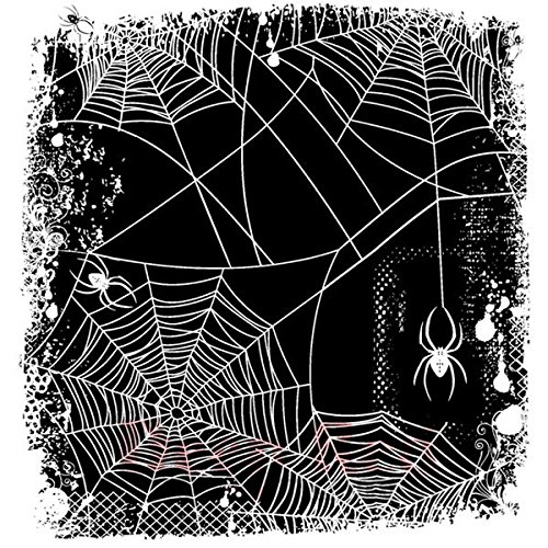 Deep Red Stamps Spider Web Background Rubber Stamp