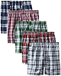 Hanes Men\'s 5-Pack Tartan Boxer with Inside Exposed Waistband, Multi, XX-Large