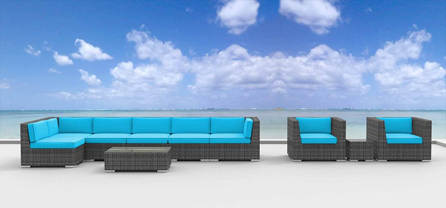 www.urbanfurnishing.net Urban Furnishing - MANADO 10pc Modern Outdoor Backyard Wicker Rattan Patio Furniture Sofa Sectional Couch Set - Sea Blue at Sears.com