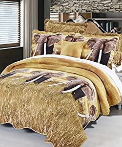 BNF HOME Safari Elephant Quilts 4 PCs Set, Queen Elephant Sham