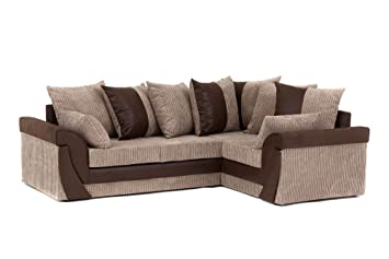 Lush Corner Sofa Brown and Beige - Right