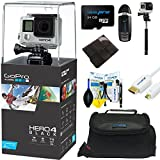 GoPro Hero 4 Black 4K Waterproof Action Camera Kit + Selfie Stick for GoPro Cameras + Pixi-Advanced Accessory Bundle