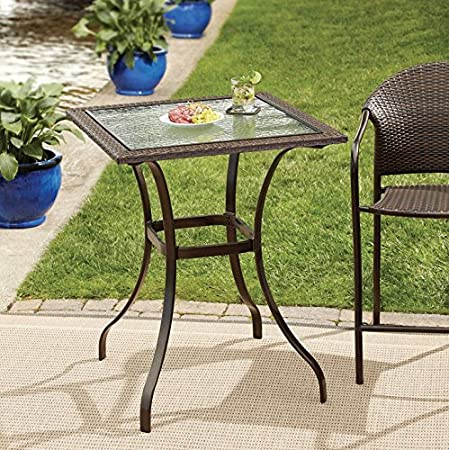 Modern Wicker and Glass Balcony Table   Outdoor Patio Furniture