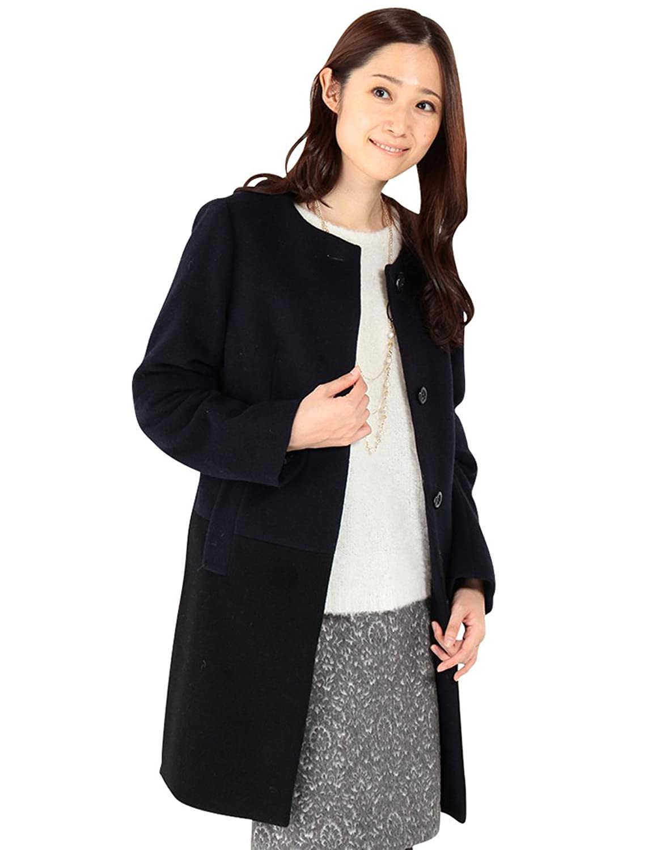 Amazon.co.jp: (エーシーデザインバイアルファキュービック)A/C DESIGN BY ALPHA CUBIC 配色ノーカラーウールコート: 服&ファッション小物通販
