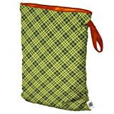 Planet Wise Wet Diaper Bag, Lime Plaid, Large