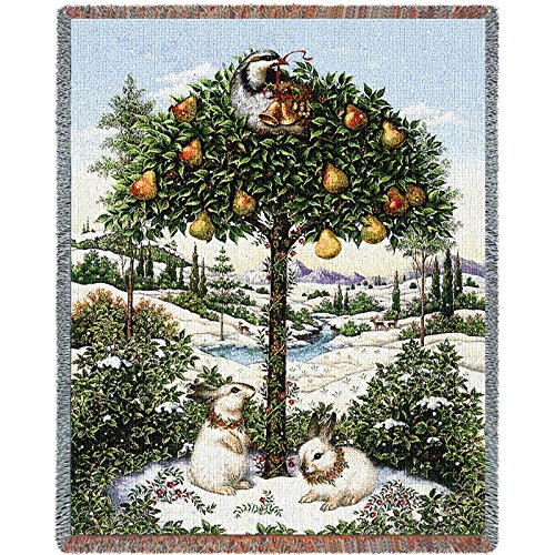 Pure Country Weavers Partridge In A Pear Tree Blanket 2252-T 54 Inches Wide By 70 Inches Long, 100% Cotton
