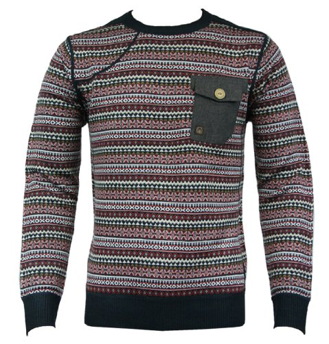 Duck and Cover 120119 Glyn Mens Knit Jumper AW12 Blue/Black XXL