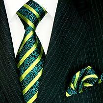 Lorenzo Cana Luxury Italian 100% Silk Tie Hanky Set Black Cyan Green Striped Necktie 8450101