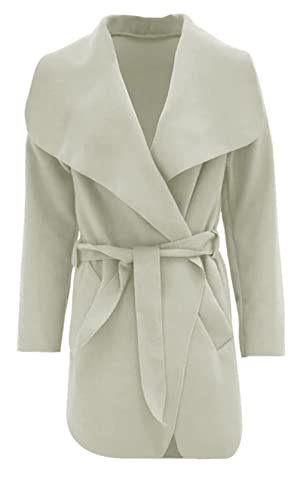 Thever Women Ladies Celb Long Sleeve Wrapped up Draped Belted Coat Cape (One SZ(6-12), Cream)