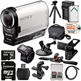 Sony Action Cam HDR-AS200VR Wi-Fi HD Video Camera Camcorder & Remote + LCD Cradle + 64GB Card + Helmet, Handlebar & Suction Cup Mounts + Battery Kit