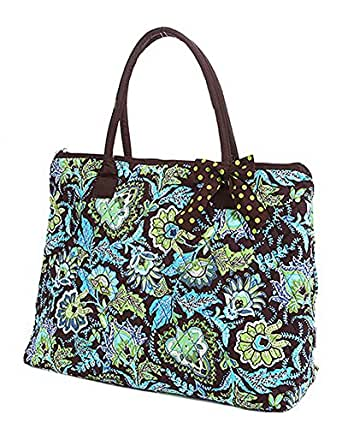Belvah Quilted Floral Large Tote Bag (Brown/ Lime)