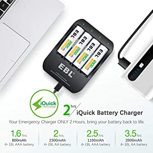 EBL AA Rechargeable Batteries 2800mAh (4 Counts) and Smart Batttery Charger - 2 Hours Fully Charged 2A USB Input Perfect for Xbox Controller (Tamaño: EBL-6201+ 4*AA 2800)
