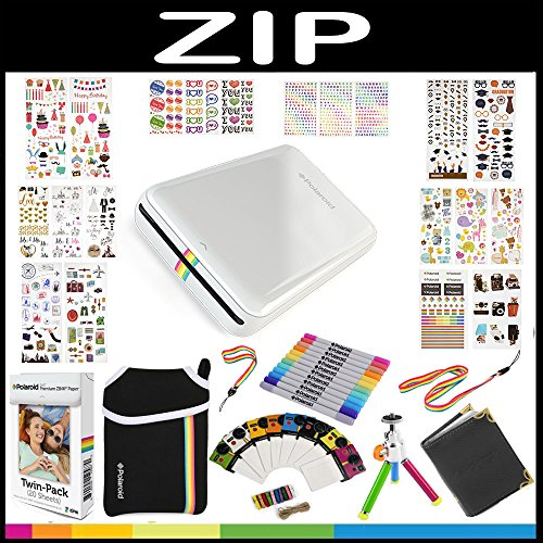 Polaroid-ZIP-Mobile-Printer-Gift-Bundle-ZINK-Paper-20-Sheets-9-Unique-Colorful-Sticker-Sets-Pouch-Twin-Tip-Markers-Hanging-Frames-Photo-Album-Accessories