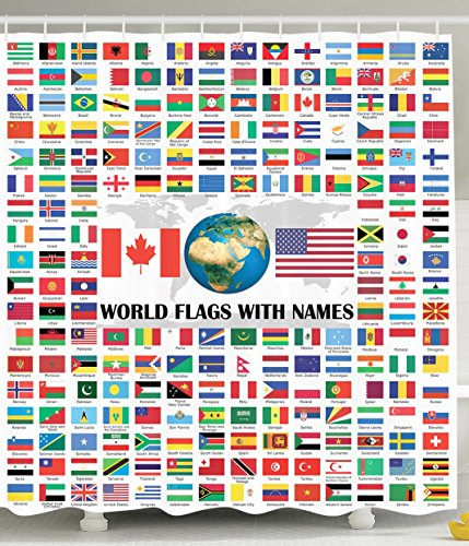 World Country Shower Curtain Flags with Names American USA Canada Flag Globe Earth Educational Traveler Geographic Home Design Bathroom Art Tourist Decor Digital Print Polyester Fabric Red Blue Yellow (Canada Shower Curtain compare prices)