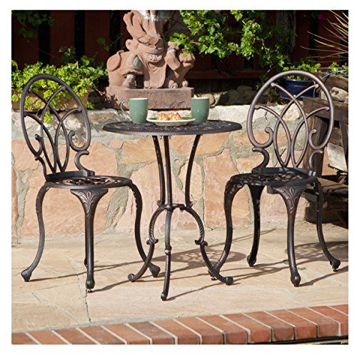 French Ironwork Cast Aluminum Outdoor Patio 3 Piece Bistro Set in Antique Copper Finish - 2 Chairs and 1 Table 0