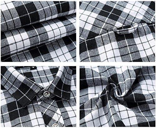 WELITY Men's Long Sleeves Retro Vintage Checker Plaids Dress Shirt 2