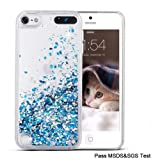 Maxdara iPod 5 Case, iPod 6 Case, iPod 7 Case Glitter Liquid Floating Bling Sparkle Quicksand Case for Girls Children for Apple iPod Touch 5th 6th 7th Generation (Blue) (Color: Blue)