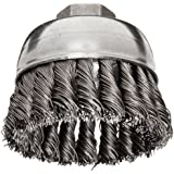 Weiler Wire Cup Brush, Threaded Hole, Steel, Partial Twist Knotted, Single Row