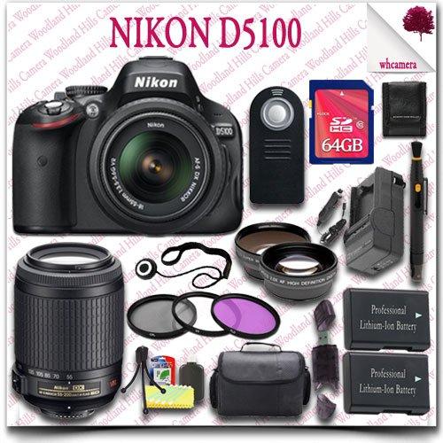Nikon D5100 Digital Slr Camera With 18-55Mm Af-S Dx Vr (Black) + Nikon 55-200Mm Af-S Dx Vr Lens + 64Gb Sdhc Class 10 Card + Wide Angle Lens / Telephoto Lens + 3Pc Filter Kit + Slr Gadget Bag + Wireless Remote 21Pc Nikon Saver Bundle