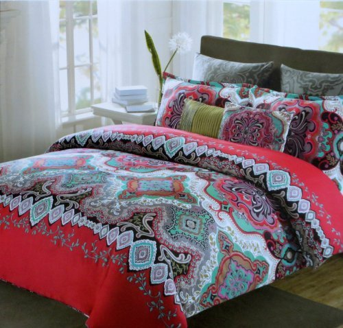 Max Studio 3Pc King Duvet Cover Set Moroccan Medallion Red Aqua Teal Black back-971441