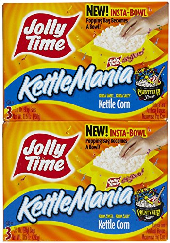 Jolly Time Kettlemania Microwave Popcorn, Kettle Corn - 3 Pack front-64044