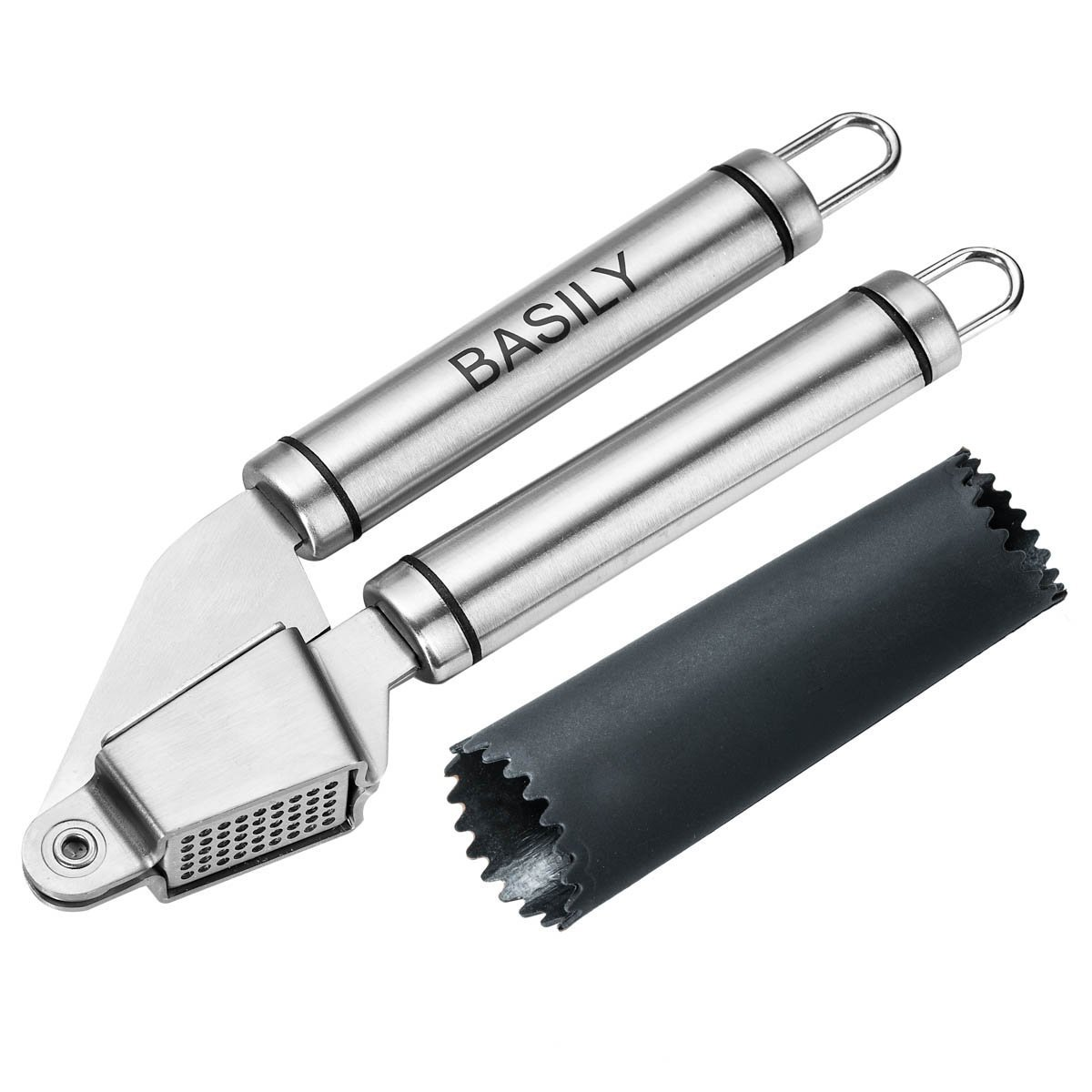 Garlic Press - Garlic Peeler Premium High Quality Stainless Steel Grade - Silicon Rolling Tube Peeler Included