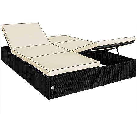 Bain de soleil double en polyrotin 195x116cm jardin lit canapé sofa coussins 7cm épais