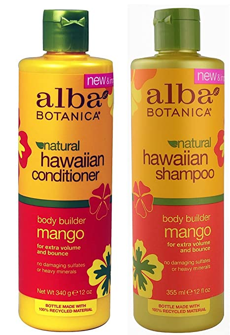 Alba Botanica, natural Hawaiian Shampoo and Conditioner, Mango, 12-Ounce Bottle