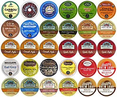 30-count Top Brand Coffee, Tea, Cider, Hot Cocoa and Cappuccino K-Cup Variety Sampler Pack, Single-Serve Cups for Keurig Brewers by Crazy Cups