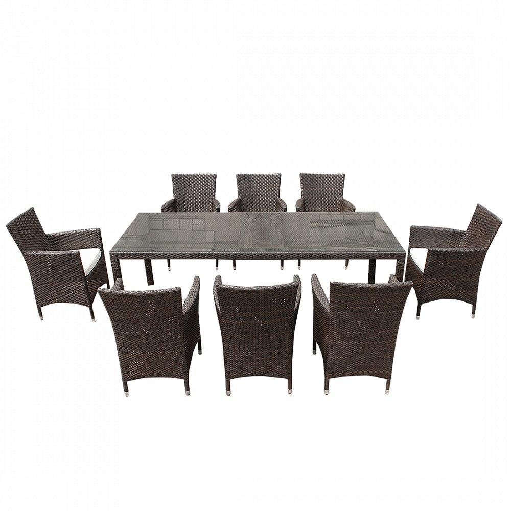 Rattan Gartenmöbel - Tisch + 8x Stuhl - Esstisch - Gartentisch 220cm - ITALY
