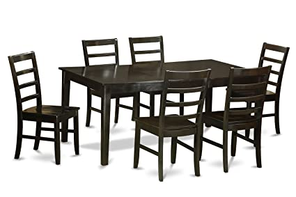 East West Furniture HEPF7-CAP-W 7-Piece Dining Table Set, Cappuccino Finish