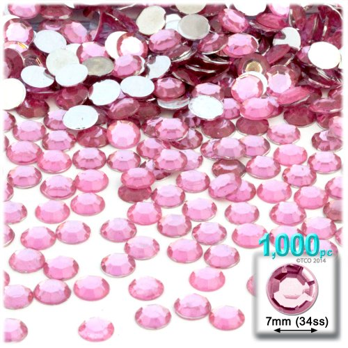 The Crafts Outlet 1000-Piece Flat Back Round Rhinestones, 7mm, Light Rose/Pink (Light Pink Gems compare prices)